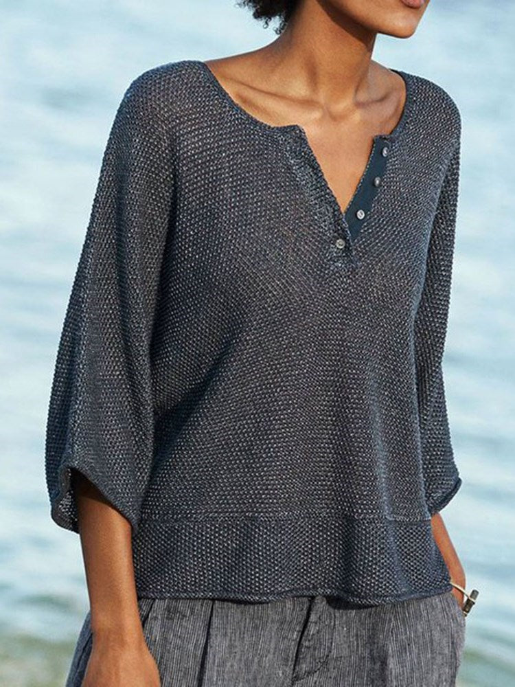 Button Three-Quarter Sleeve Standard Sweater