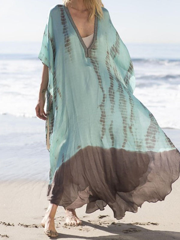 Ankle-Length V-Neck Patchwork Pullover Beach Dress