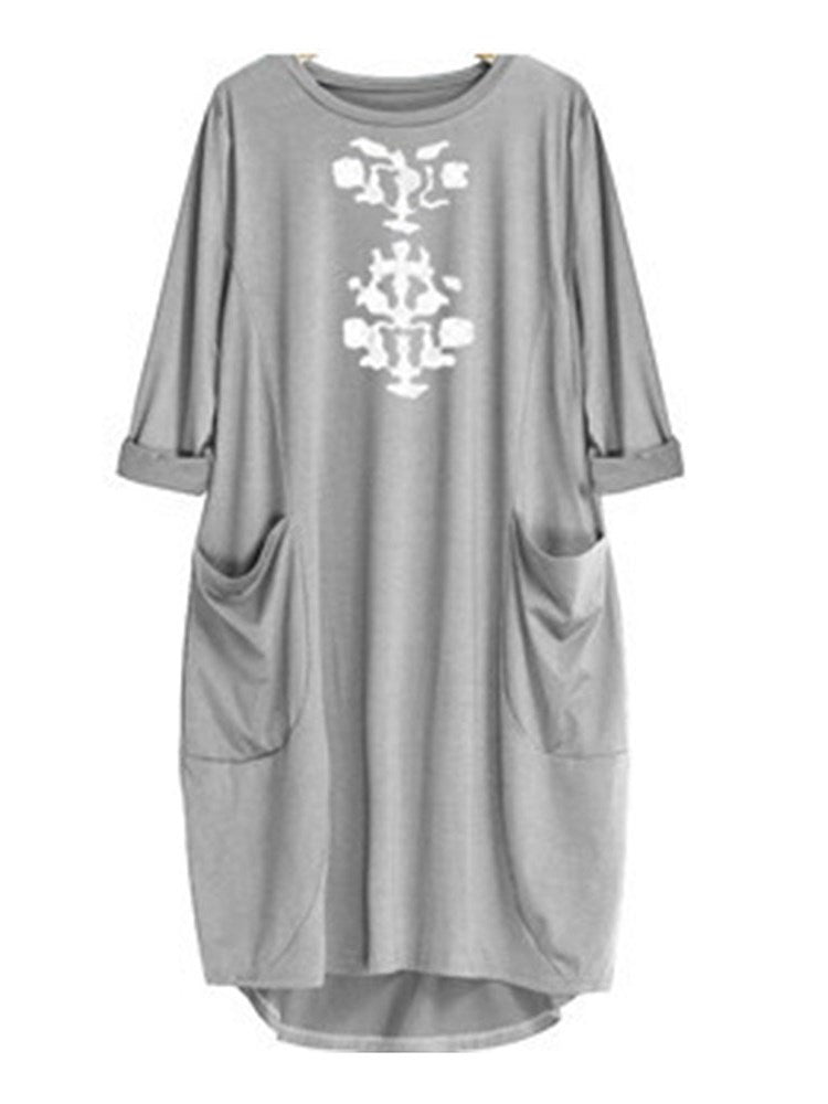 Knee-Length Print Long Sleeve Pullover A-Line Dress