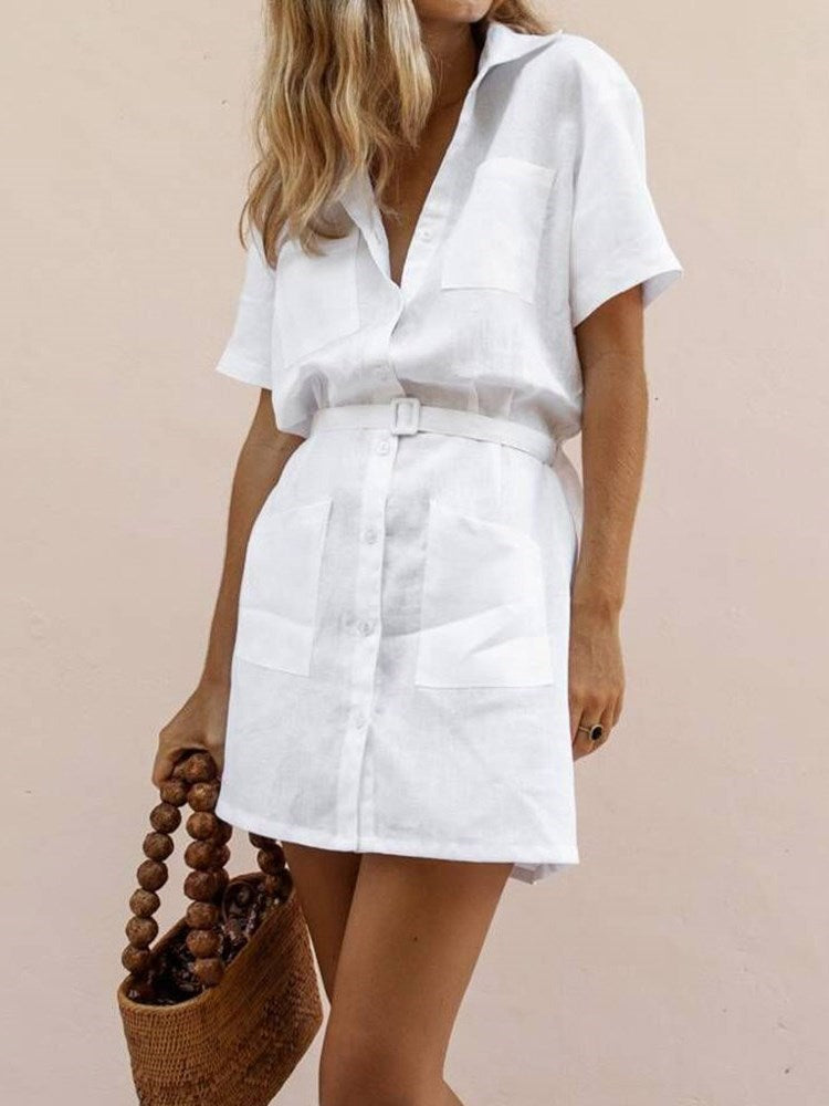 Pocket Short Sleeve Above Knee A-Line Plain Dress