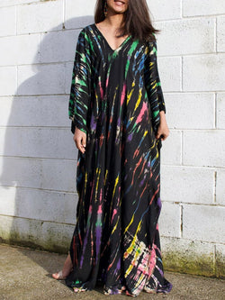 Floor-Length Long Sleeve Print Color Block Pullover Dress
