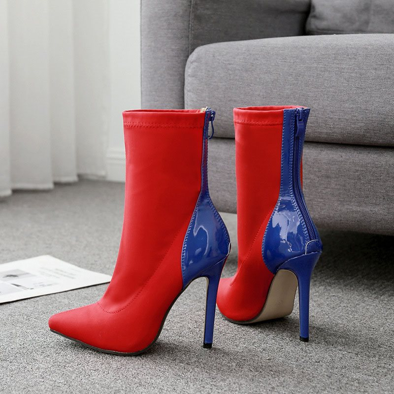 Color Block Pointed Toe Stiletto Heel Back Zip PU Casual Boots