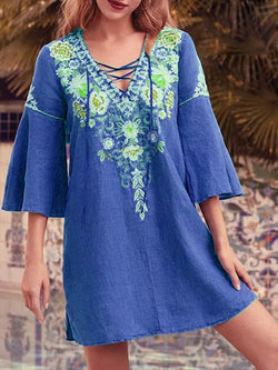 Three-Quarter Sleeve Above Knee Embroidery Casual Pullover Dress