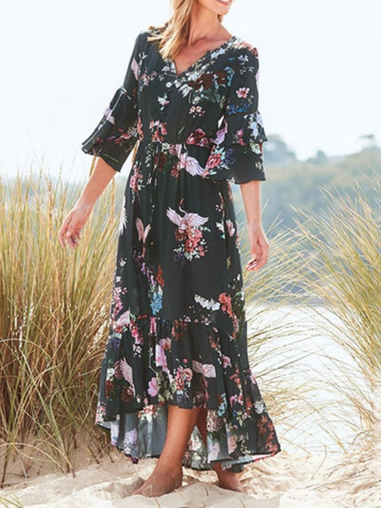 Print V-Neck Ankle-Length Ruffle Sleeve Summer Dress
