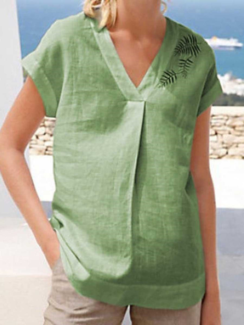 Print Plant V-Neck Short Sleeve Standard Blouse