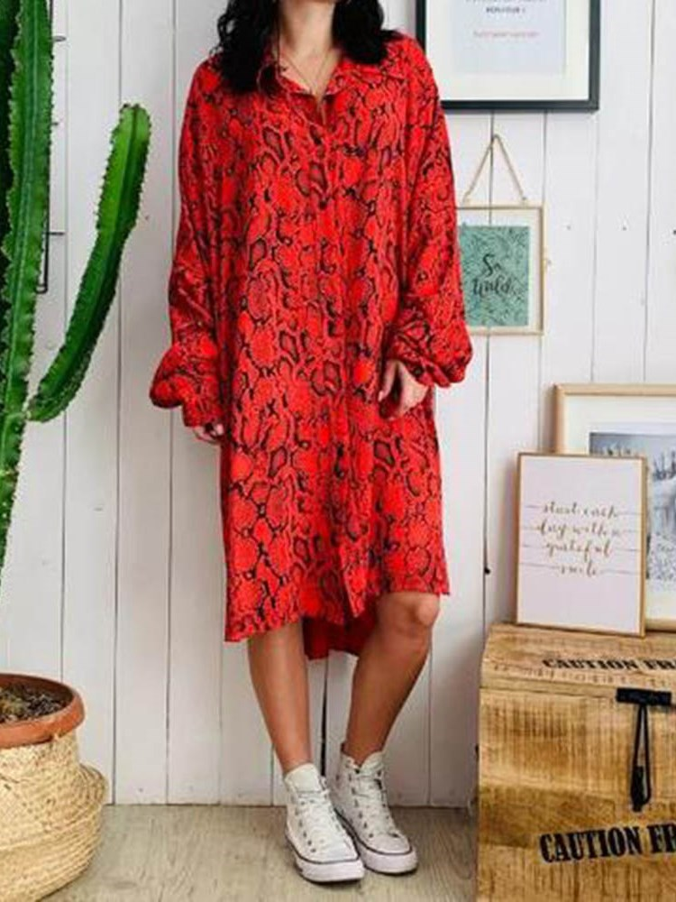 Long Sleeve V-Neck Print Color Block Pullover Dress