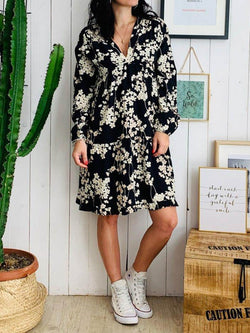 V-Neck Print Long Sleeve Pullover Fashion Dress