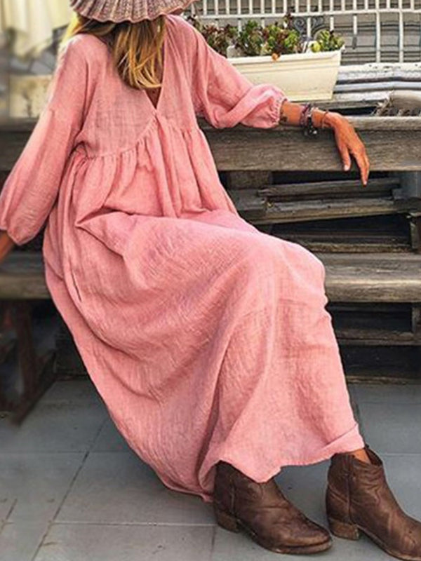 Three-Quarter Sleeve V-Neck Ankle-Length Plain Lantern Sleeve Dress