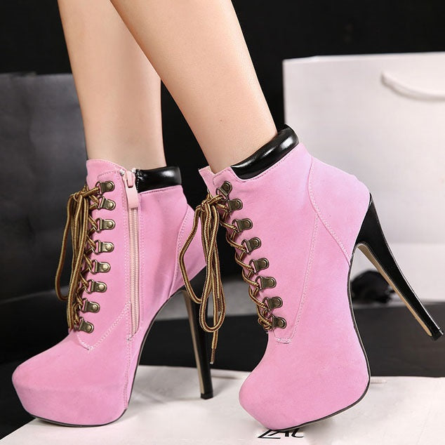 Patchwork Stiletto Heel Round Toe Lace-Up Front Western Short Floss Boots