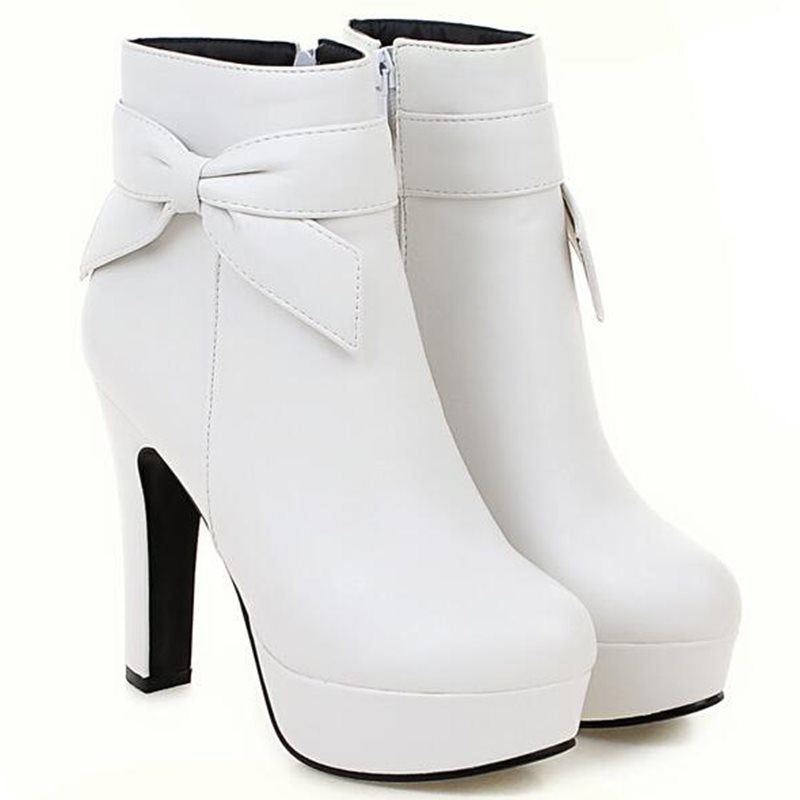 Chunky Heel Round Toe Plain Side Zipper Short Floss Casual Boots