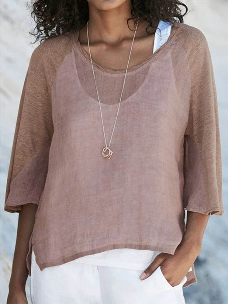 Round Neck Standard Three-Quarter Sleeve Casual Loose T-Shirt