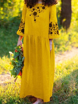 Three-Quarter Sleeve Ankle-Length Print Summer Fashion Dress