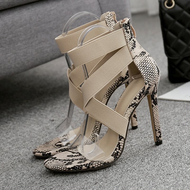 Zipper Heel Covering Open Toe Stiletto Heel Casual Patchwork Sandals