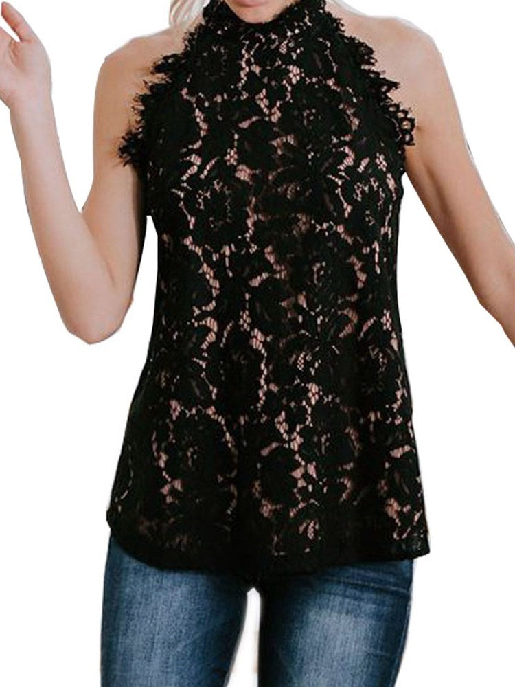 I-Shaped Lace Hollow Standard Tank Top