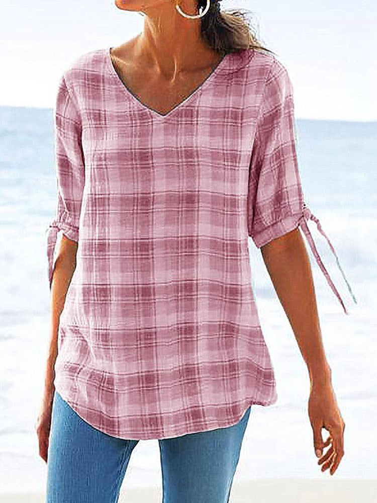 V-Neck Plaid Mid-Length Half Sleeve Blouse