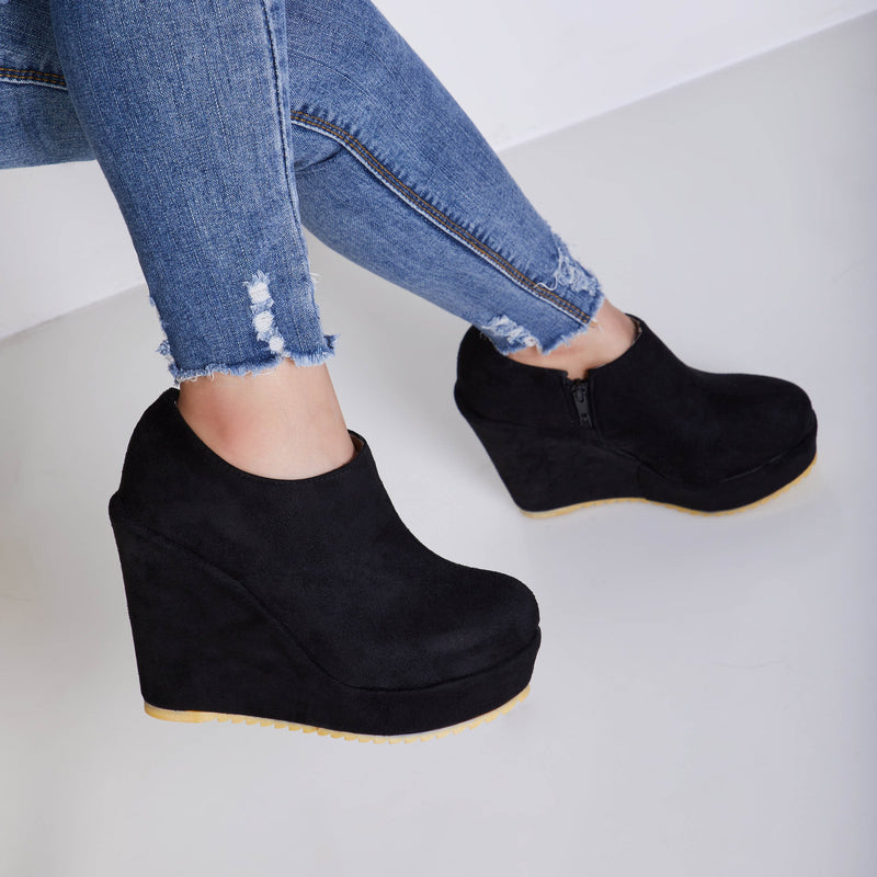 Wedge Heel Plain Side Zipper Round Toe Short Floss Casual Boots