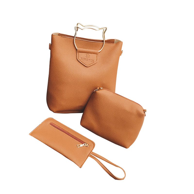 PU Thread Plain Barrel-Shaped Tote Bags