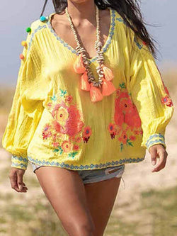 V-Neck Embroidery Floral Long Sleeve Mid-Length Blouse