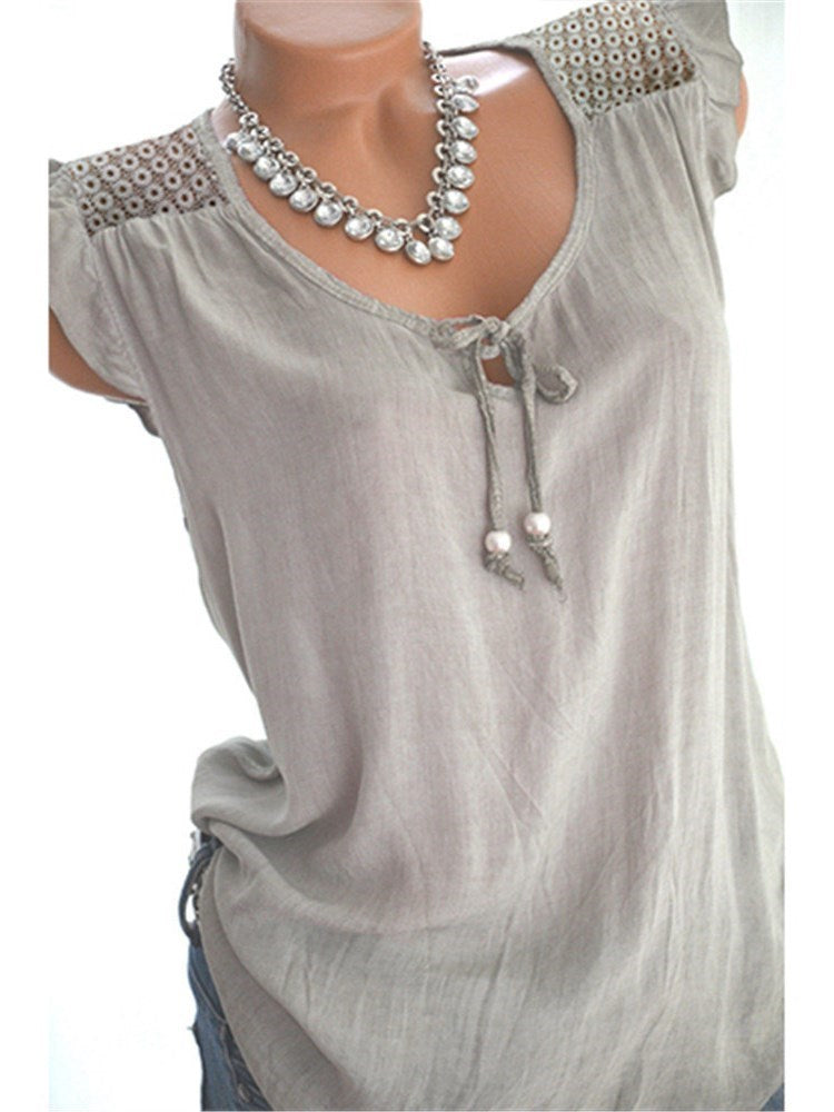 Lace-Up Summer Polyester Standard Tank Top