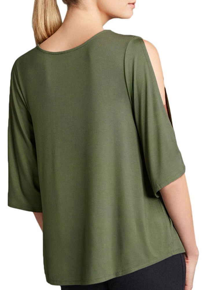 Plain Round Neck Standard Slim Fall T-Shirt