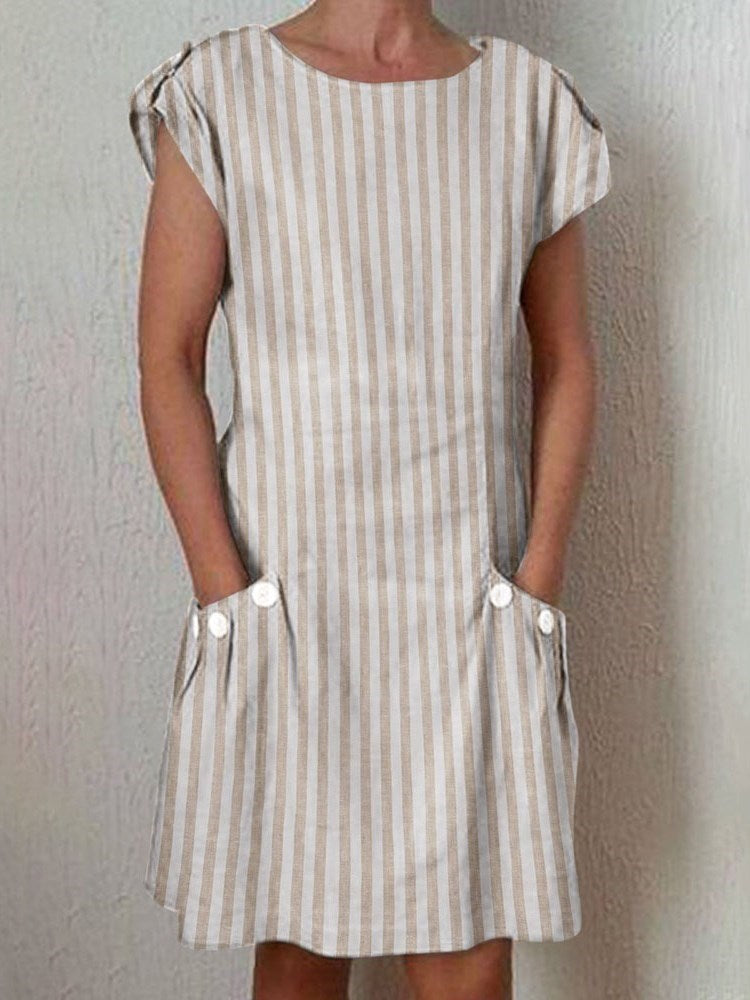 Short Sleeve Above Knee Round Neck Casual Stripe Dress