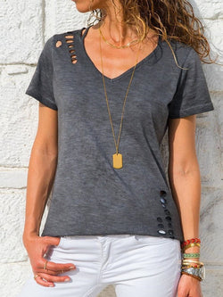 Plain Standard V-Neck Summer Straight T-Shirt