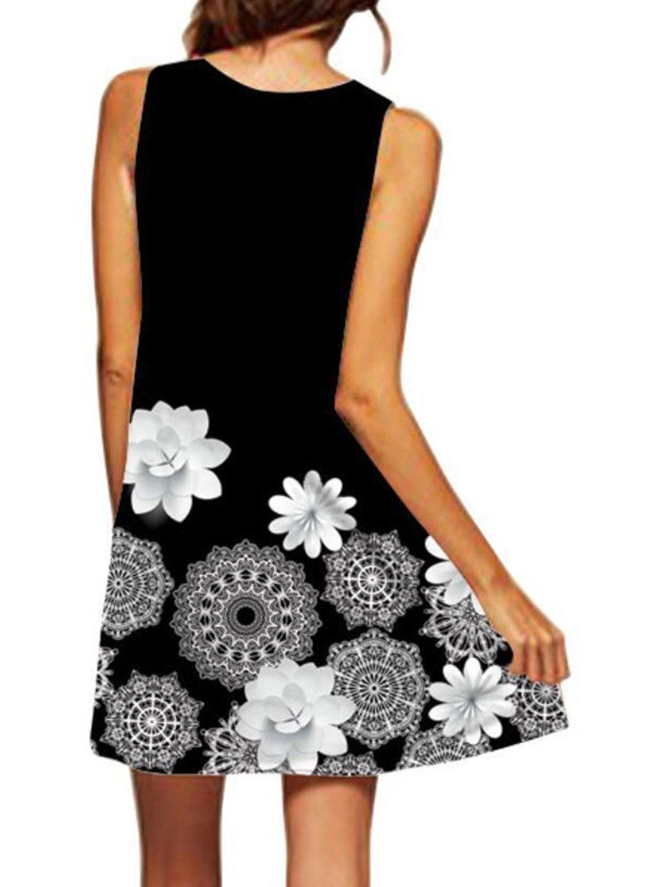Round Neck Sleeveless Above Knee Floral A-Line Dress