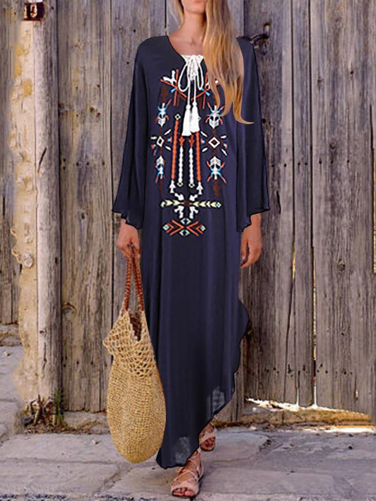 Long Sleeve Asymmetric Ankle-Length Summer Geometric Dress