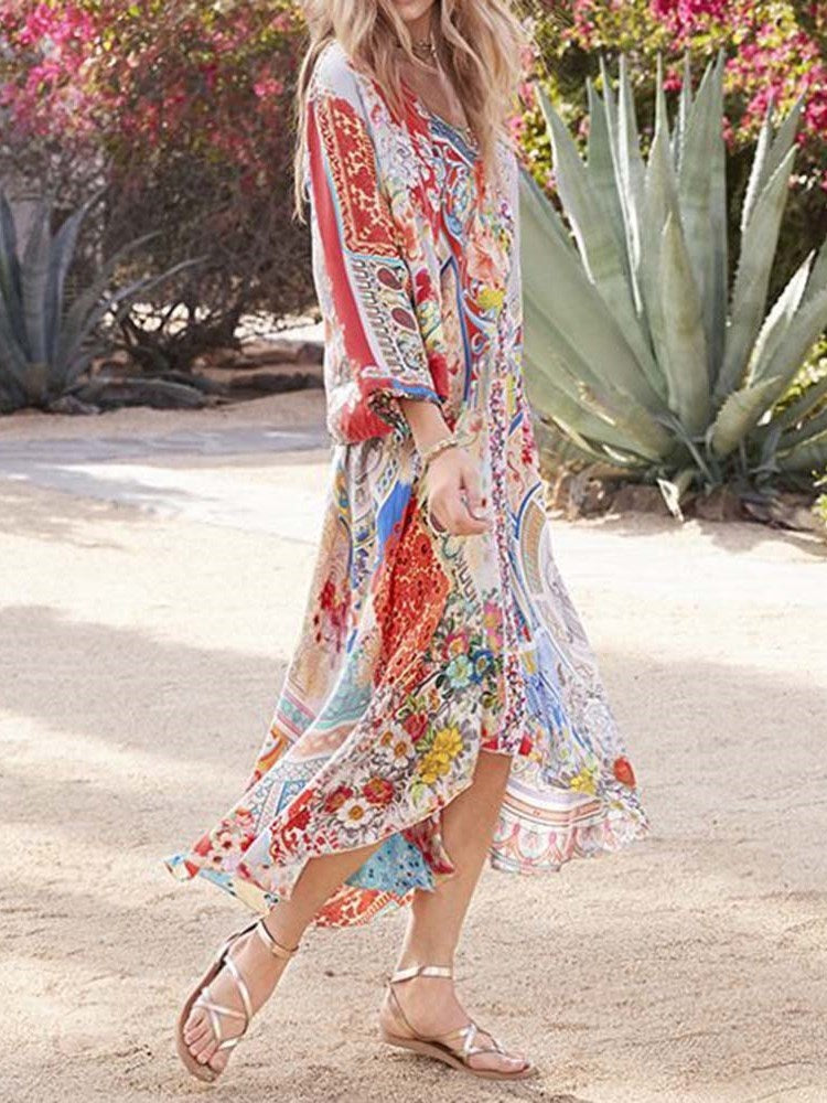 Print Three-Quarter Sleeve Ankle-Length Floral Fashion Dress