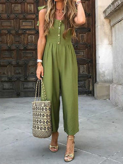 Button Plain Full Length High Waist Straight Jumpsuit