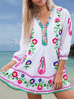 V-Neck Above Knee Three-Quarter Sleeve Summer Pullover Dress