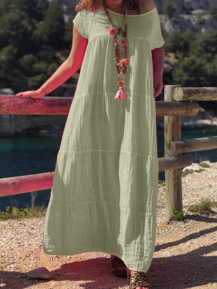 Ankle-Length Round Neck Pleated A-Line Summer Dress