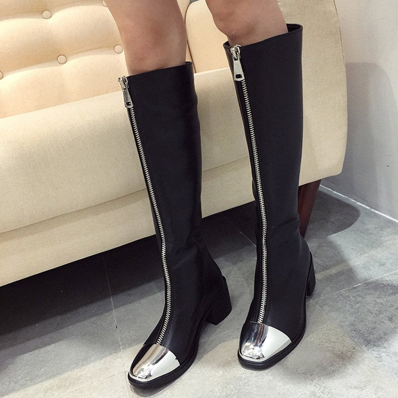 Chunky Heel Patchwork Square Toe Front Zipper Casual Short Floss Boots