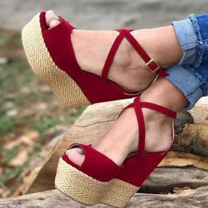 Open Toe Wedge Heel Buckle Heel Covering Casual Casual Sandals