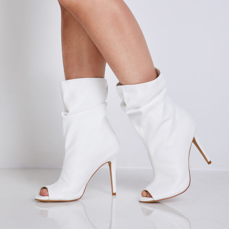 Plain Slip-On Stiletto Heel Peep Toe Leather Casual Boots