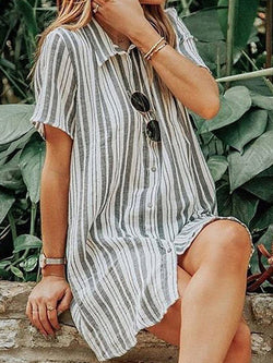 Lapel Short Sleeve Above Knee Stripe Single-Breasted Dress