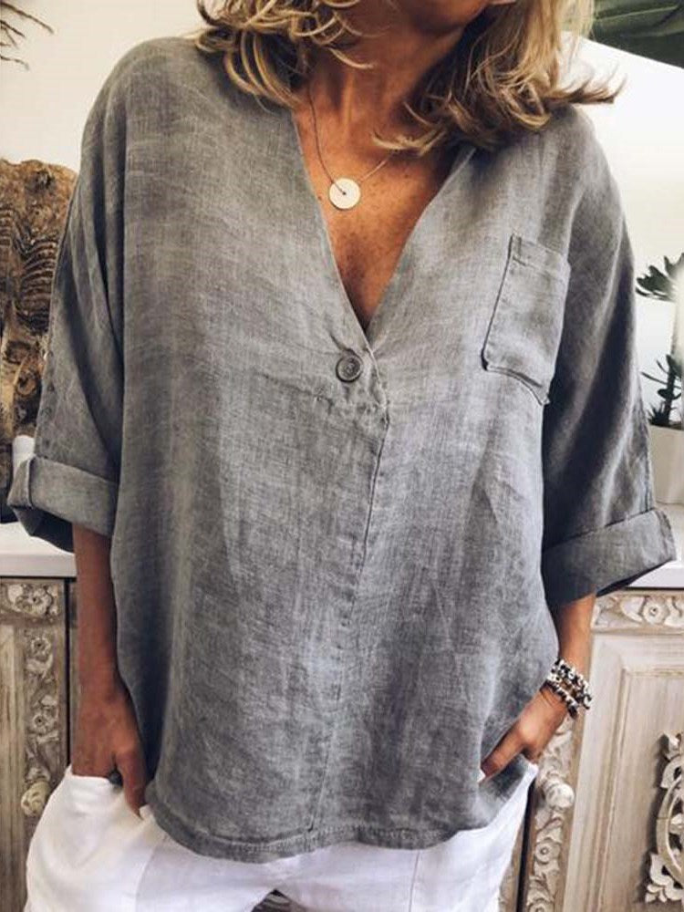 Button V-Neck Plain Long Sleeve Standard Blouse