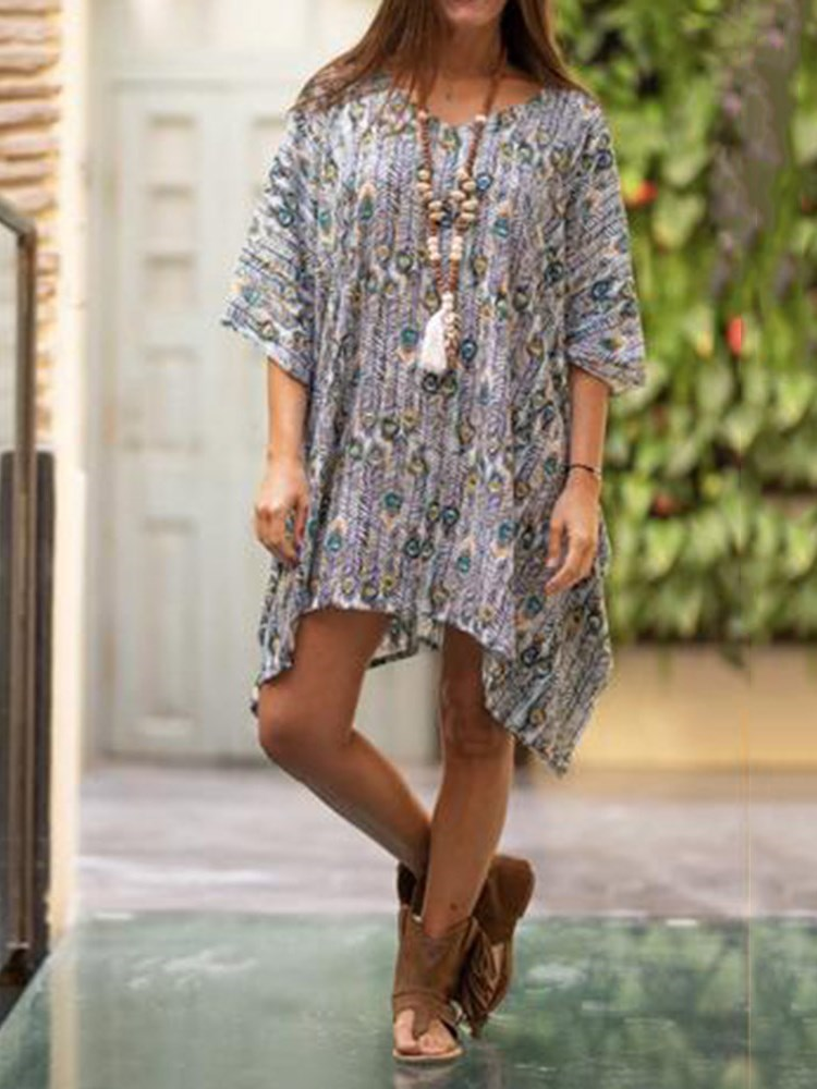 Asymmetric Knee-Length Three-Quarter Sleeve Pullover Straight Dress