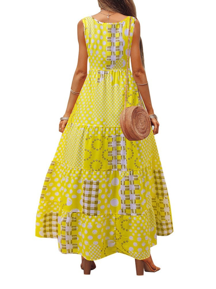 Sleeveless Ankle-Length Print High Waist Pullover Dress
