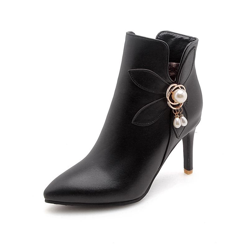 Side Zipper Stiletto Heel Pointed Toe Plain Casual Beads Boots