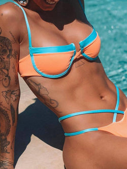 Western Bikini Set Color Block Swimwear