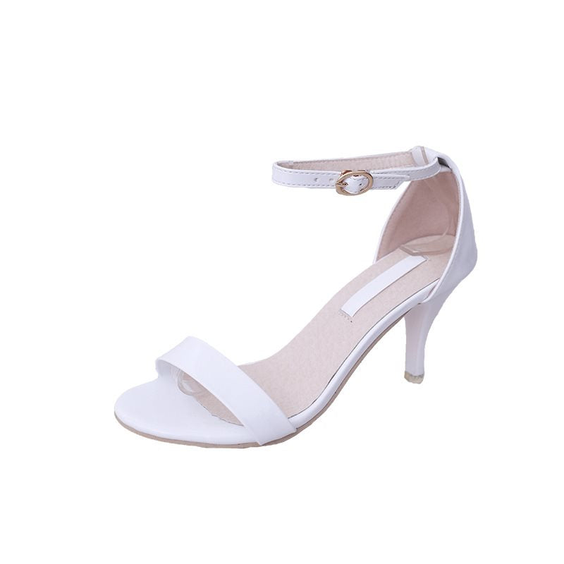 Open Toe Line-Style Buckle Heel Covering Stiletto Heel Low-Cut Upper Casual Sandals