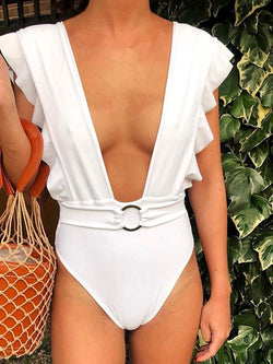 One Piece Western Plain Swimwear