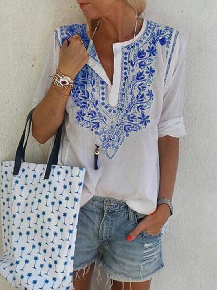 V-Neck Print Color Block Mid-Length Three-Quarter Sleeve Blouse