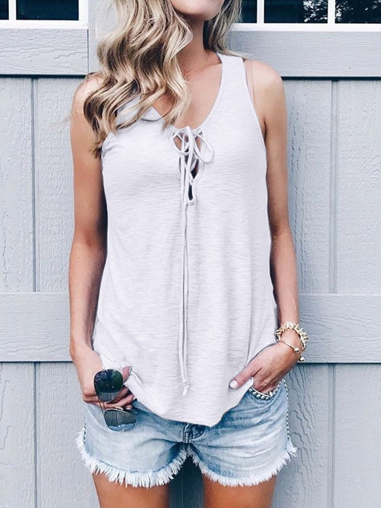 Lace-Up Polyester Summer Standard Tank Top