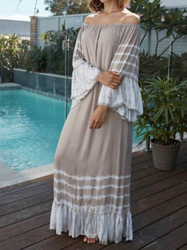 Nine Points Sleeve Patchwork Off Shoulder Straight Flare Sleeve Dress