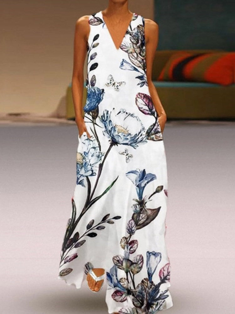 Sleeveless Print V-Neck Summer A-Line Dress