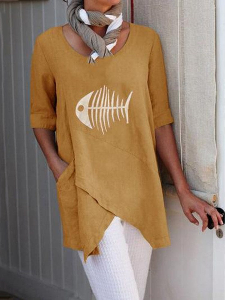 Half Sleeve Mid-Length Casual Straight T-Shirt