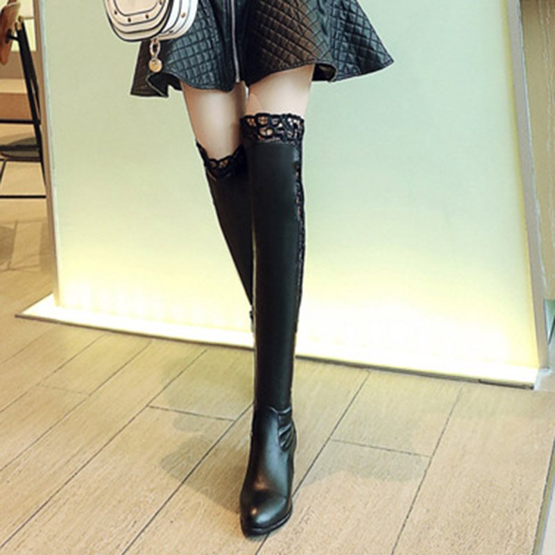 Round Toe Plain Side Zipper Chunky Heel Lace Casual Boots
