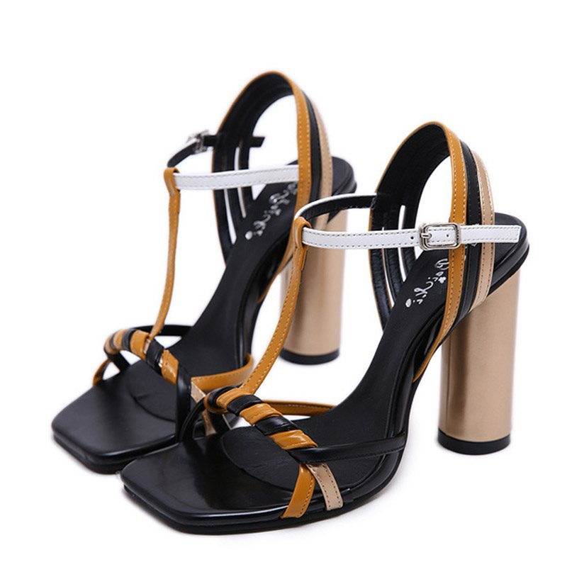 Chunky Heel T-Shaped Buckle Open Toe Strappy Low-Cut Upper Color Block Sandals